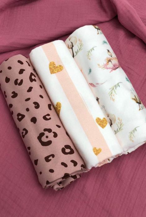 Набір фланелевих пелюшок Леопард на пудрі, рожева смужка, бавовна і квіти