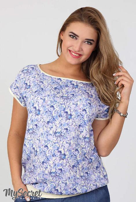 Блуза для вагітних і годування Mira, блакитні квіти на екрю