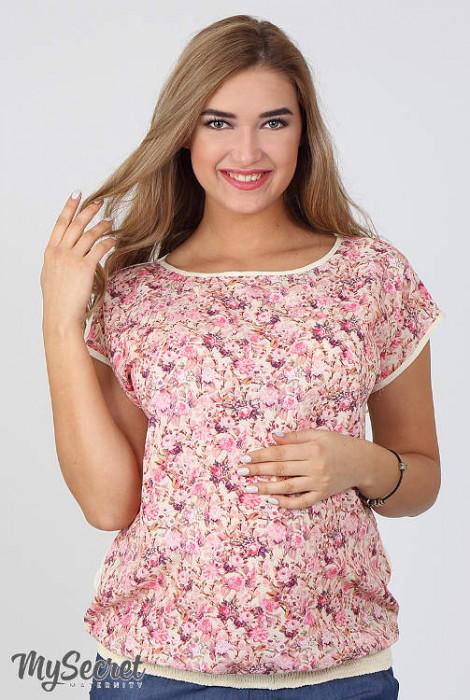 Блуза для вагітних і годування Mira, рожеві квіти на екрю