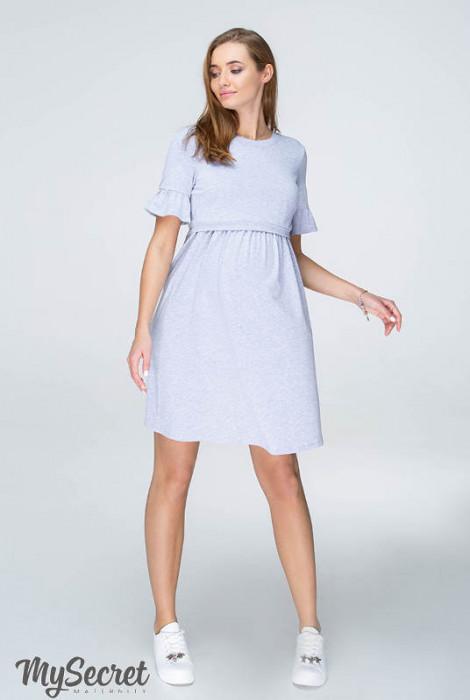 Сукня-футболка для вагітних і годування Emily, сірий меланж