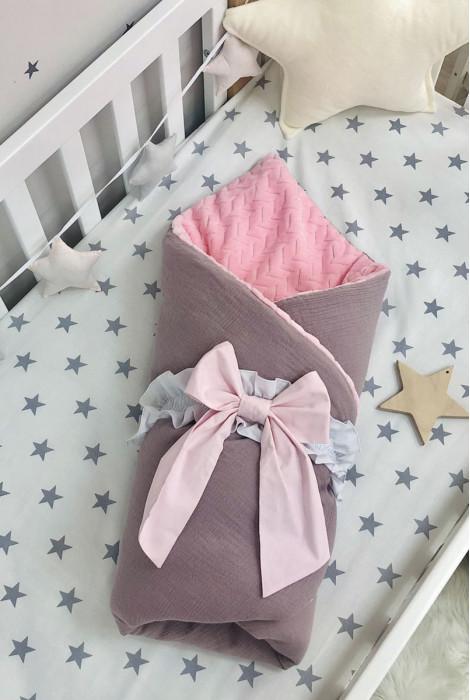 Плед-конверт з ковдрою плюш муслін, Лілово-рожевий