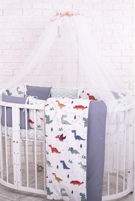 Комплект дитячої постільної білизни із 7 предметів Baby Design Premium, Dino